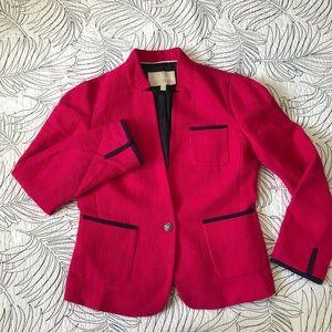 Banana Republic • Pink & Navy Cotton Woven Blazer